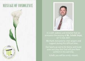 MESSAGE OF CONDOLENCE MR STEYN - 12 JULY 2021